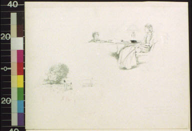 Two people in landscape ; woman reading outdoors