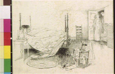 Man in four poster bed and two people in doorway
