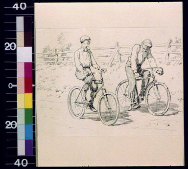 Two men on bicycles