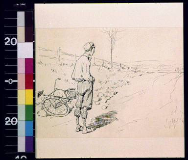 Man with fallen bicycle looking up road