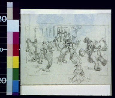Boisterous street scene with baby in foreground