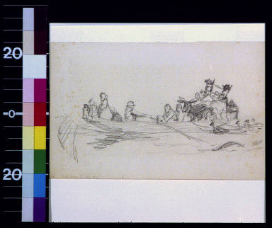 People in rowboat with furniture