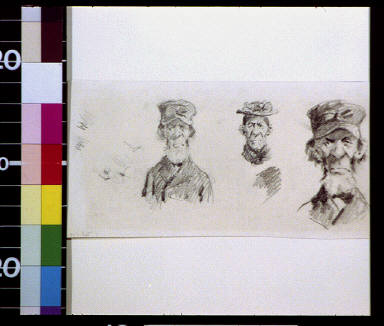 Old bearded man in cap and old woman in hat