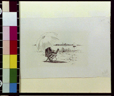 Man painting under umbrella and sailboat