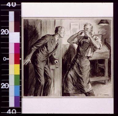 Young man bursting through door of a printer's office to gesticulating printer