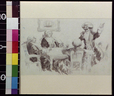 Man in peruke smiling and beginning a story, while three men listen at table