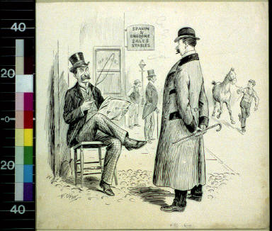 Two men outside office by stable