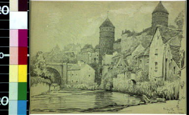 Fortified town by river, France