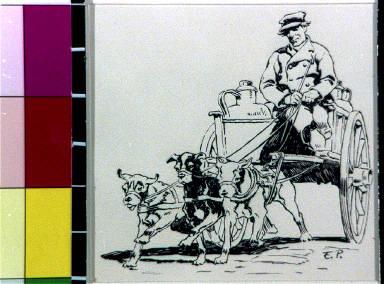 Man in dog cart, Holland
