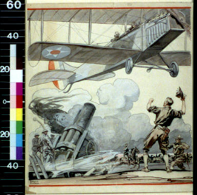 Airplane, artillery gun, and soldiers