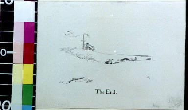 Pistol and fallen body on beach with shipmast on horizon