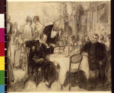 Men being served in restaurant