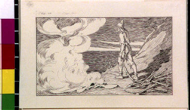 Robinson Crusoe standing next to fire