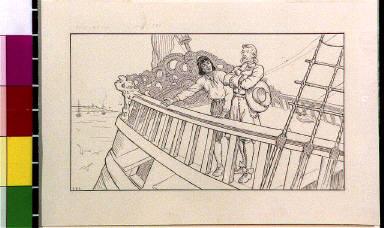 Robinson Crusoe and Friday aboard ship