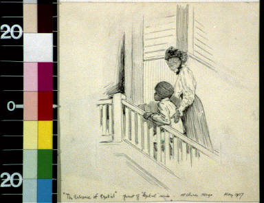 Woman and black boy walking up stairs