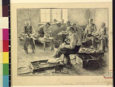 Phila[delphia] Alms House : a busy corner in the shoemaker's room