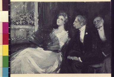 Two men and a woman in a theater balcony