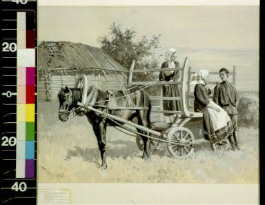 Peasants sitting on cart