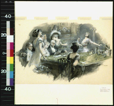 Men and women in evening dress around a gambling table