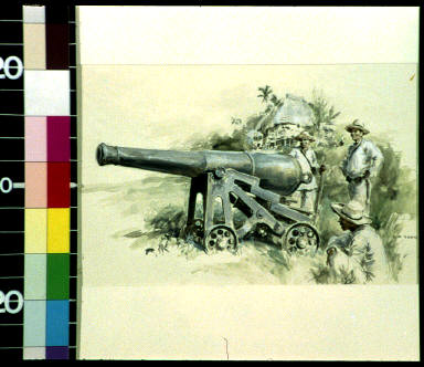 Old bronze, muzzle-loading siege gun used by Filipinos against Americans in their advance toward Caloocan