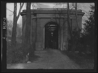 Entrance to the orangery of the gardens at Kijkuit, John D. Rockefeller's estate, designed by William Welles Bosworth