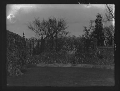 North gateway to the forecourt of the gardens at Kijkuit, John D. Rockefeller's estate, designed by William Welles Bosworth