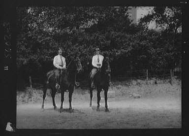McCulloch, Mrs., and daughter, on horseback