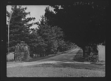 Entrance to the driveway of the Baldrige estate