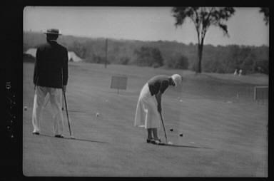 Cassidy, Ellen, Mrs., playing golf
