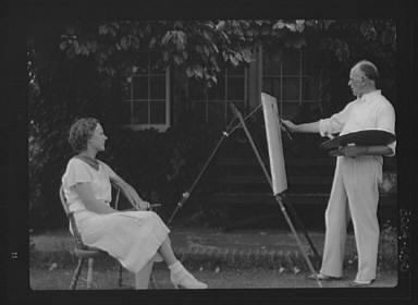 King, Hamilton, Mr., painting Mrs. Hamilton's portrait outdoors