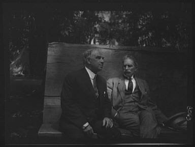 Bierce, Ambrose, and unidentified man at the Bohemian Club Grove
