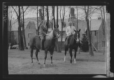 Manners, Mrs. Alice G., with unidentified man, on horseback