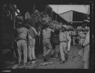 Unloading bananas, New Orleans