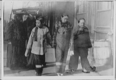 Three women on Kearney Street, Chinatown, San Francisco