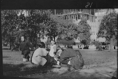 A picnic on Portsmouth Square, Chinatown, San Francisco