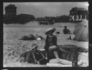 Two unidentified women at Long Beach, New York