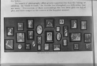 Clipping from an article on photography, including a photograph of a display of Genthe photographs