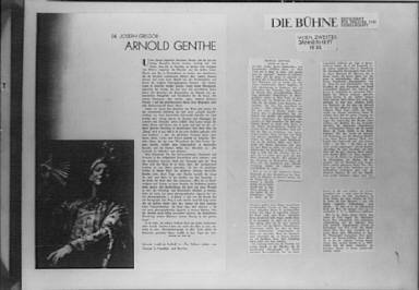 Clippings of an article on Arnold Genthe by Joseph Gregor and an article from Die B?hne