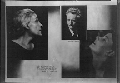 Clipping from an article on Arnold Genthe called Ein Romantiker der Photographie: Arnold Genthe, consisting of portrait photographs of Eleonara Duse, Greta Garbo and Arnold Genthe