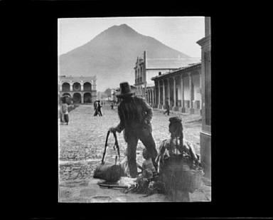 Plaza and volcano of Antigua, Guatemala
