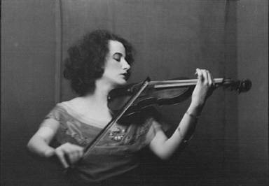 Unidentified woman playing the violin, portrait photograph