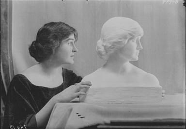 Woodruff, Eleanor, Miss, with portrait bust, portrait photograph