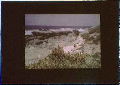 Helen MacGowan Cooke at the beach in Carmel, California