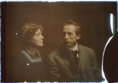 Man, possibly Ernest Schelling, and a woman