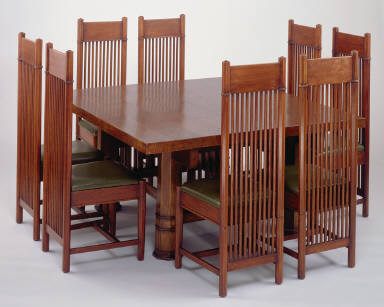 Dining table and chairs from the Barton House of the Darwin D. Martin Complex