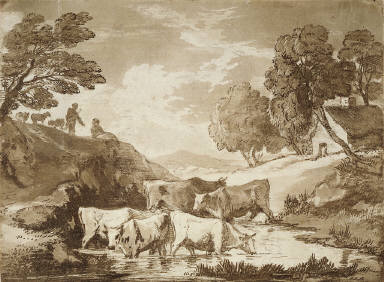 Wooded Landscape with Cows at a Watering Place, Figures and Cottage