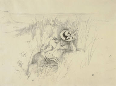 Young Woman Reading on the Dunes