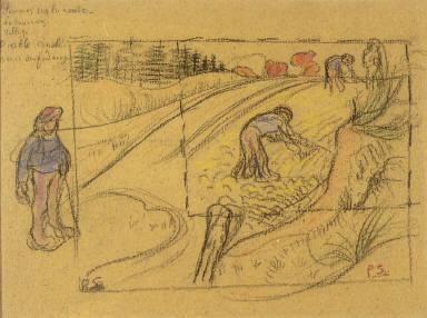 Peasants in a Field (recto); Procession of Bretonne Women with Study of Two Female Figures (verso)