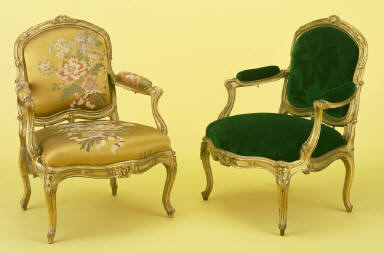 Louis XV fauteuil; pair from a set of eight