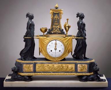 Clock with Vestals